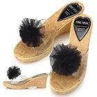 New Womens Flower Comfort High Heels Slides Platform Shoes Sandals Black