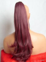 """Clip in Hair Pony Tail Hair Extension Pieces Wavy Plum Red #99J - 21"""" JADE"""