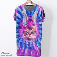 UNISEX Women's animal cat or rabbit printed graphic t-shirt long top dress S M L