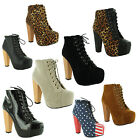 New Ladies High Block Heel Lace Up Concealed Platform Boots Sizes UK 3 4 5 6 7 8