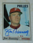 Jim Bunning auto card Tigers signed 1970 Topps Phillies HOF autographed