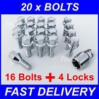 20 x ALLOY WHEEL BOLTS & LOCKS - VOLVO V70 MK2 (2000-07) LOCKING 14MM NUTS [9Z]