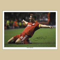 STEVEN GERRARD Liverpool (17) Signed Autograph Photo Print (A4) 210 x 297mm