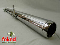 UNIVERSAL MOTORCYCLE EXHAUST SILENCER NEW - FLAT END TYPE - 35-40mm INLET