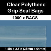 1000 CLEAR GRIP SEAL RESEALABLE POLY BAGS 1.5 x 2.5