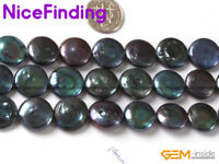 14mm coin black freshwater cultured pearl loose beads strand 15""