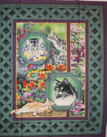 Cat Nap Wall Hanging or Quilt Panel by Springs Creative PRICE REDUCED