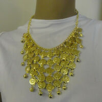 GOLD COIN NECKLACE FOR INDIAN CLEOPATRA BELLY DANCER ARABIAN COSTUME JEWELLERY