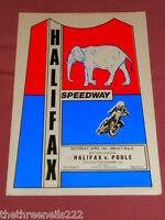 SPEEDWAY PROGRAMME - HALIFAX V POOLE - APRIL 19 1980