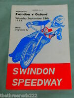 SPEEDWAY PROGRAMME - SWINDON V OXFORD - SEPT 28TH 1974