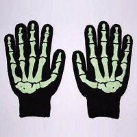 New Gothic Goth Punk Glow In The Dark Skeleton Bones Misfit Black Work Gloves