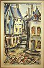 AQUARELLE 1950 1960 mi-20è RUELLE encadrée & signée 53,5x33,5 cm + Cadre