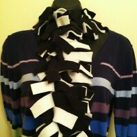 Boa Fringe Fleece Scarf ~ Black & White