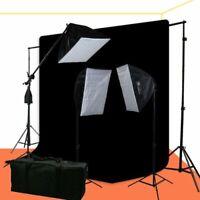 2400 Watt Photo Video Portrait Lighting Kit with 6x9 Black Muslin Backdrop