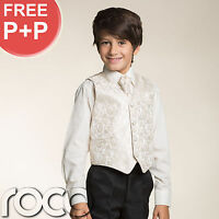 Boys Cream Ivory 4pc Wedding Pageboy Communion Formal Paisley Waistcoat Suit