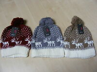 WOMENS LADIES COLOUR COLOURED FAIRSLE KNITTED BEANIE BOBBLE HAT ONE SIZE - NEW