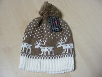 WOMENS LADIES BROWN + WHITE FAIRSLE KNITTED BEANIE BOBBLE HAT - ONE SIZE - NEW