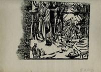 gravure bois gravé original de Jules Emile Zingg