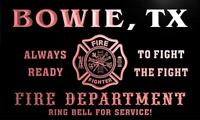 qy66688-r FIRE DEPT BOWIE, TX TEXAS Firefighter Neon Sign