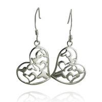 Heart Filigree Dangle Earrings Sterling Silver