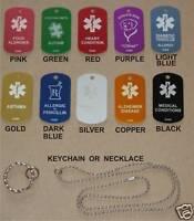 Custom Engraved Personalized Medical Alert ID Dog Tag