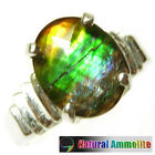 Beautiful Tri color diamond cut Ammolite Sterling Silver Ring Size 7