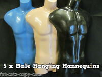 5 x QUALITY MALE HANGING TORSO FRONT BODY SHOP DISPLAY MANNEQUIN DUMMY UK SELLER