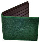 Dark Green Stingray Leather Bi-Fold Classic Wallet, Brown Leather Interior