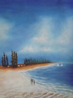 minimal beach sea large oil painting canvas abstract contemporary blue original