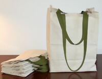 6 Pak Cotton CANVAS GROCERY BAG Shopping Totes - Long Handles - Made in USA
