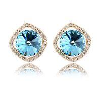 18K Rose Gold GP Made Wtih Swarovski Crystal Round Cut Ocean Blue Stud Earrings