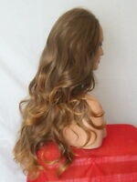 Half Wig Fall Clip In Hair Piece Curly Long 3/4 wig fall Brown Ombre cheap X3