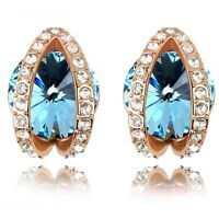 18K Rose Gold Plated Made With Swarovski Crystal Round Cut Oval Stud Earrings