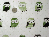 OWLS GREEN WISE BIRD WOODS NATURE MINKY FABRIC CUDDLE KNIT SEW QUILT CRAFT BTY