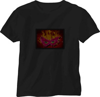 SOUND ACTIVATED  FUNKY EYE MASK FLASHING LIGHT UP DOWN LED T SHIRT SMALL S el