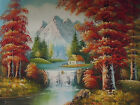 Snowy Mountains Trees Forest Large Oil Painting Canvas Landscape River Original
