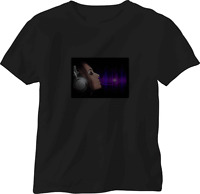 SOUND ACTIVATED GIRL LISTENING TO MUSIC FLASHING DOWN LED T SHIRT LARGE el