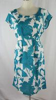 New WHITE STUFF TEA DRESS turquoise blue & white TUNIC floral  8 10 12 14 16 18