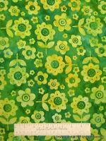 GREEN ARTISAN BATIK FABRIC - Yellow Flower Floral - Robert Kaufman Cotton YARD