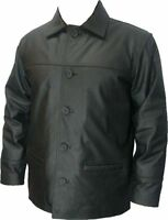 UNICORN Mens Classic Box Coat - Real Leather Jacket - Charcoal Black #S8