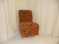 BEDROOM CHAIR. ORANGE/CHOCOLATE SWIRL  ( FREE DELIVERY )