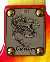 NeckPlate Neck Plate Gold 4 Fender Strat Tele P J Bass Guitar Dragon Custom 2