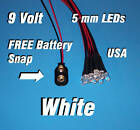 10 x LED - 5mm PRE WIRED LEDS 9 VOLT ~WHITE ~ 9V PREWIRED USA
