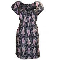 NEW Evans K&D BLACK MULTI PAISLEY pattern TEA DRESS TUNIC TOP 16 18 22-24 26-28
