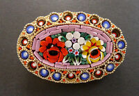 Vintage Micro Mosaic Flower Brooch Pin Italian Italy Antique Floral
