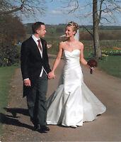 Stunning Anna Christina Designer wedding Dress size 8 ivory duchess satin