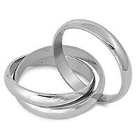 Stainless Steel Triple Connected Band Ring SZ 7-12