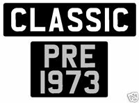 Pre 73 black adhesive classic registration number plate