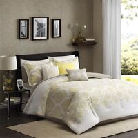 7pc Yellow Taupe 200TC Comforter Set Shams Bed Skirt AND Decorative Pillows