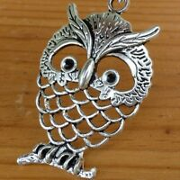 Steampunk silver color Victorian goth  pendant charm WISE OWL necklace wedding